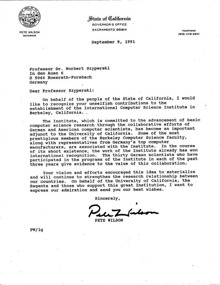 letter from Gov. Wilson to Norbert Szyperski